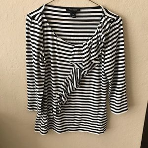 White House black market striped ruffle top